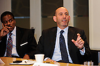 Major League Soccer Commissioner Don Garber makes a point during a meeting of members of the USA Bid Committee for the FIFA World Cup in New York, NY on December 15, 2009.