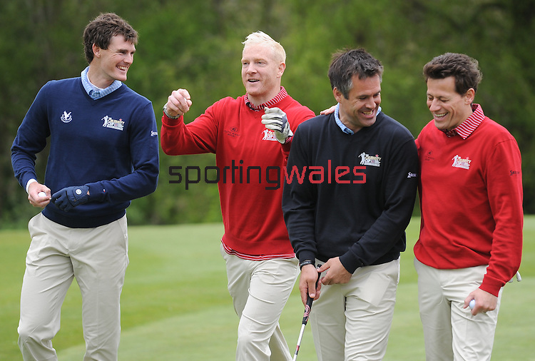 L-R Scotland's Jamie Murray, Wale's Iwan Thomas, Scotland's  Kenny Logan and Wale's Ioan Gruffudd all share a joke coming off the 3rd green ..Celebrity Cup at Golf Live  - Day 2 - Celtic Manor Resort - Saturday 11th  May  2013 - Newport ..© www.sportingwales.com- PLEASE CREDIT IAN COOK