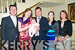 Baby Aibhe Marie Gray who was christened at St. Mary's Church, Listowel by Canon Declan O'Connor on saturday pictured with her parents & godparents at the Listowel Arms Hotel. Damien Ryan, Andrea, Aibhe & Paul Gray, Listowel & Cork, Sylvia Jone & Karen Farnfield.