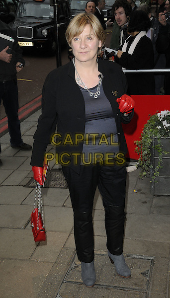 VICTORIA WOOD.The South Bank Sky Arts Awards, The Dorchester Hotel, London, England, UK..January 25th, 2011.full length black red grey gray boots trousers jacket gloves bag purse top.CAP/CAN.©Can Nguyen/Capital Pictures.