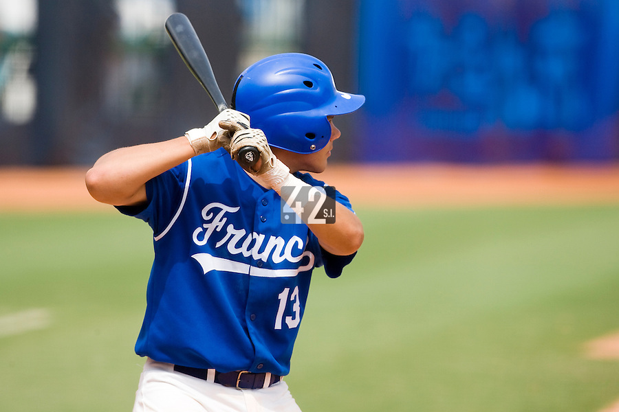 22 August 2007: #13 Boris Marche is seen at bat during the Japan 9-4 victory over France in the Good Luck Beijing International baseball tournament (olympic test event) at west Beijng's Wukesong Baseball Field in Beijing, China.