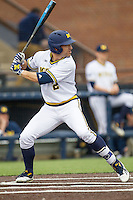 Michigan Wolverines outfielder Jonathan Engelmann (2) at bat against the Oakland Golden Grizzlies on May 17, 2016 at Ray Fisher Stadium in Ann Arbor, Michigan. Oakland defeated Michigan 6-5 in 10 innings. (Andrew Woolley/Four Seam Images)