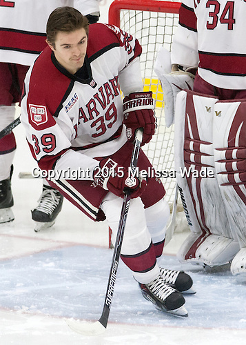 Brian Hart (Harvard - 39) - The Harvard University Crimson defeated the Brown University Bears 4-3 to sweep their first round match up in the ECAC playoffs on Saturday, March 7, 2015, at Bright-Landry Hockey Center in Cambridge, Massachusetts.