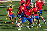 Spainsh Nolito Alvaro Morata and Lucas Vazquez during the training of the spanish national football team in the city of football of Las Rozas in Madrid, Spain. November 09, 2016. (ALTERPHOTOS/Rodrigo Jimenez)