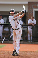 University of Virginia shortstop Chris Taylor #6 at bat during a game against the Boston College Eagles at Watson Stadium at Vrooman Field on February 17, 2012 in Conway, SC.  Boston College defeated Virginia 5-3.  (Robert Gurganus/Four Seam Images)