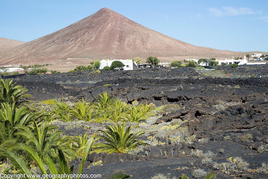 Volcanic cone and lava flows village of Tahiche, Lanzarote, Canary Islands, Spain