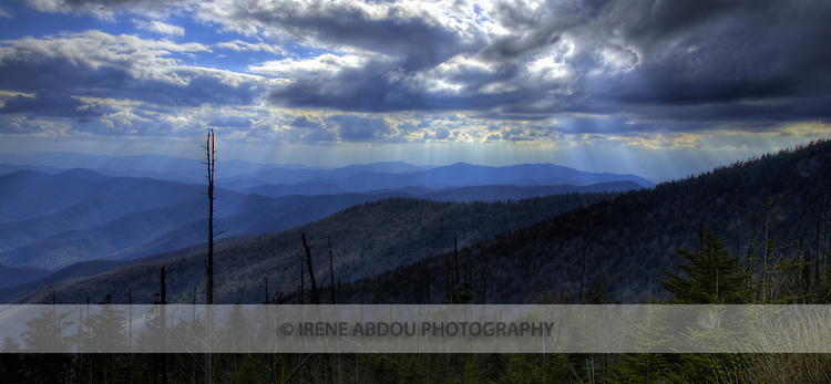 Rays of light pierce the clouds after a spring thunderstorm above Clingman's Dome in the Smoky Mountains National Park, Tennessee.