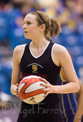 11 MAR 2009 - SHEFFIELD,GBR - Jo Harten - Loughborough University (black and maroon) v University of Bath (blue and yellow) - BUCS Championships '09. (PHOTO (C) NIGEL FARROW)