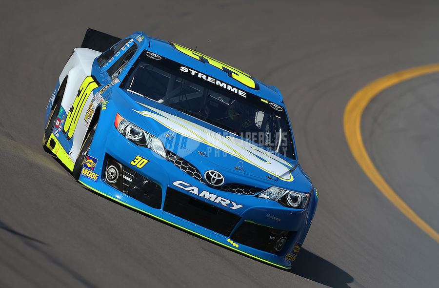 Mar. 1, 2013; Avondale, AZ, USA; NASCAR Sprint Cup Series driver David Stremme during practice for the Subway Fresh Fit 500 at Phoenix International Raceway. Mandatory Credit: Mark J. Rebilas-