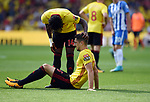 Craig Cathcart of Watford is injured during the premier league match at the Vicarage Road Stadium, Watford. Picture date 26th August 2017. Picture credit should read: Robin Parker/Sportimage