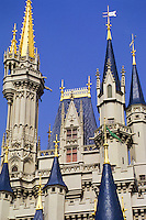 Fairytale castle towers in Disneyland Los Angeles, California, USA
