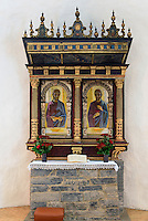 Altar in der Rundkirche  &Oslash;sterlars Kirke (12.Jh.) auf der Insel Bornholm, D&auml;nemark, Europa<br /> Altar in  &Oslash;sterlars Kirke , Isle of Bornholm Denmark