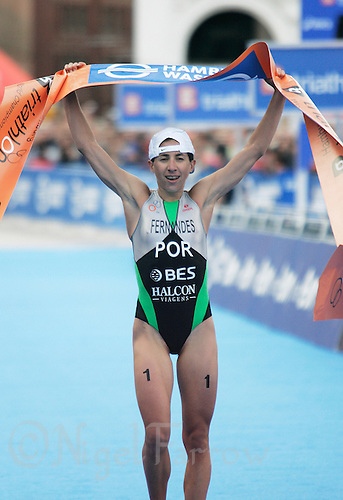 01 SEP 2007 - HAMBURG, GER - Vanessa Fernandes (POR) celebrates her victory - Elite Womens World Triathlon Championships. (PHOTO (C) NIGEL FARROW)