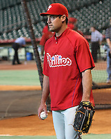 Philadelphia Phillies OF Pat Burrell on Thursday May 22nd at Minute Maid Park in Houston, Texas. Photo by Andrew Woolley / Four Seam Images.