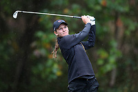 CHAPEL HILL, NC - OCTOBER 13: Emily Price of the University of South Carolina tees off at UNC Finley Golf Course on October 13, 2019 in Chapel Hill, North Carolina.