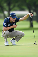 Emiliano Grillo (ARG) lines up his putt on 6 during round 1 of the 2019 Charles Schwab Challenge, Colonial Country Club, Ft. Worth, Texas,  USA. 5/23/2019.<br /> Picture: Golffile | Ken Murray<br /> <br /> All photo usage must carry mandatory copyright credit (© Golffile | Ken Murray)