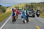 The breakaway group in action during Stage 4 of the 2018 Artic Race of Norway, running 145.5km from Kvalsund to Alta, Norway. 18th August 2018. <br /> <br /> Picture: ASO/Gautier Demouveaux | Cyclefile<br /> All photos usage must carry mandatory copyright credit (© Cyclefile | ASO/Gautier Demouveaux)