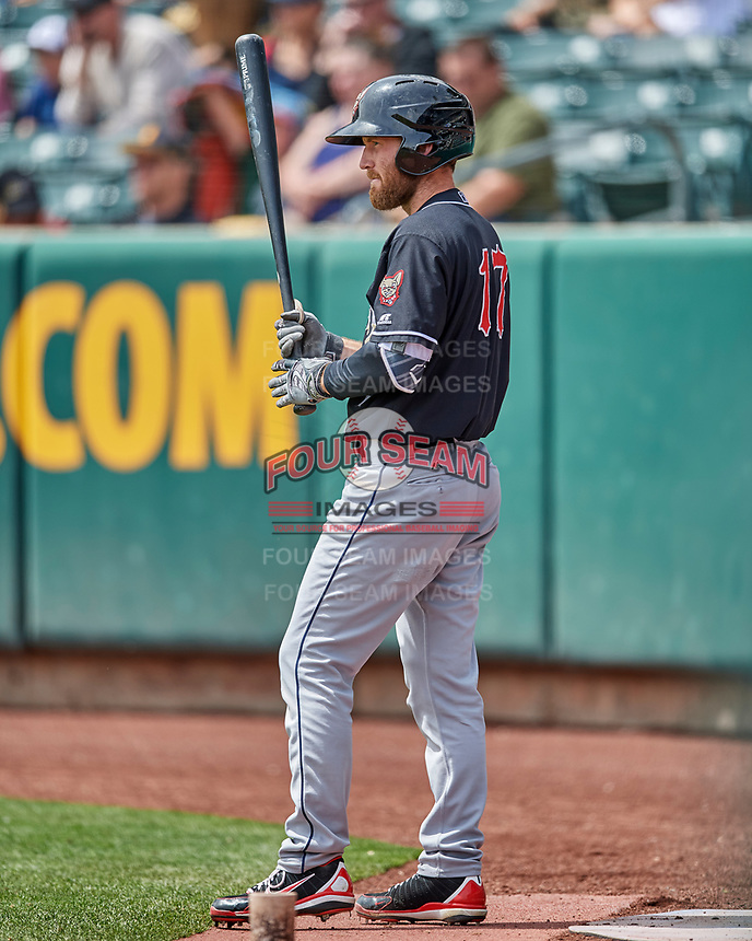 Rocky Gale (17) of the El Paso Chihuahuas waits on deck against the Salt Lake Bees in Pacific Coast League action at Smith's Ballpark on April 30, 2017 in Salt Lake City, Utah. El Paso defeated Salt Lake 3-0. This was Game 1 of a double-header. (Stephen Smith/Four Seam Images)
