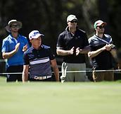 10th February 2018, Lake Karrinyup Country Club, Karrinyup, Australia; ISPS HANDA World Super 6 Perth golf, third round; Brett Rumford (AUS) in a bunker