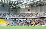 ****BETALBILD**** <br /> Stockholm 2015-04-08 Fotboll Landskamp Damer , Sverige - Danmark :  <br /> Vy &ouml;ver Tele2 Arena med publik och tomma l&auml;ktarsektioner under matchen mellan Sverige och Danmark <br /> (Photo: Kenta J&ouml;nsson) Keywords:  Sweden Sverige Denmark Danmark Landskamp Dam Damer Tele2 Arena Stockholm inomhus interi&ouml;r interior supporter fans publik supporters