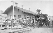 D&amp;RG #41 with oil lamp surrounded by a large crowd at the Placer depot.<br /> D&amp;RG  Placer (later Russell), CO
