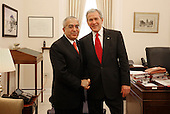 United States President George W. Bush stands with Dr. Salam Fayyad, Prime Minister of the Palestinian Authority, during his visit Monday, Feb. 11, 2008, to the White House for a meeting with Stephen Hadley, National Security Advisor. <br /> Mandatory Credit: Joyce N. Boghosian / White House via CNP