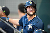 Left fielder Tim Tebow (15) of the Columbia Fireflies in a game against the Greenville Drive on Wednesday, June 14, 2017, at Fluor Field at the West End in Greenville, South Carolina. Columbia won, 6-2, in 11 innings. (Tom Priddy/Four Seam Images)