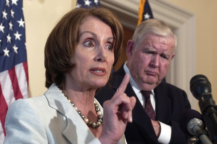 House Minority Leader Nancy Pelosi, D-Calif., speaks at a news conference with Rep. John Murtha, D-Pa., about the address President George W. Bush will give the country tonight, and the state of the war in Iraq.