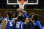 21 December 2014: Kentucky players huddle before the game. The Duke University Blue Devils hosted the University of Kentucky Wildcats at Cameron Indoor Stadium in Durham, North Carolina in a 2014-15 NCAA Division I Women's Basketball game. Duke won the game 89-68.