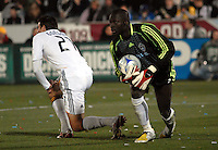 Colorado Rapids goalkeeper Bouna Coundoul comes up with a save against Alan Gordon of the Los Angeles Galaxy during an MLS regular season match at Dicks Sporting Goods Park in Commerce City, Colorado on March 29, 2008. The Rapids defeated the Galaxy 4-0.