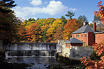 Autumn view of a dam on the Little River in Belfast, Maine, USA