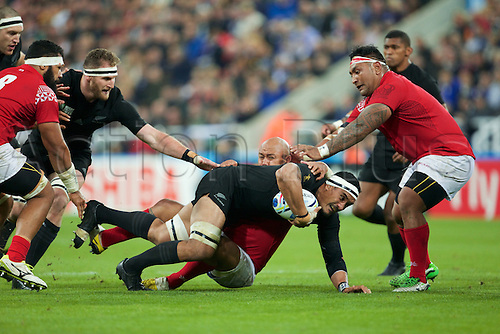 09.10.2015. St James Park, Newcastle, England. Rugby World Cup. New Zealand versus Tonga. New Zealand All Black number 8 Kieran Read is tackled.
