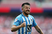 28th May 2018, Wembley Stadium, London, England;  EFL League 2 football, playoff final, Coventry City versus Exeter City; Marc McNulty of Coventry City celebrates towards the Coventry City fans after Jordan Shipley of Coventry City scored his sides 2nd goal in the 54th minute to make it 2-0