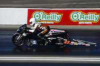 Nov. 10, 2012; Pomona, CA, USA: NHRA pro stock motorcycle rider Jim Surber during qualifying for the Auto Club Finals at at Auto Club Raceway at Pomona. Mandatory Credit: Mark J. Rebilas-