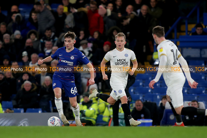 Billy Gilmour of Chelsea in action during Chelsea Under-21 vs Peterborough United, Checkatrade Trophy Football at Stamford Bridge on 9th January 2019