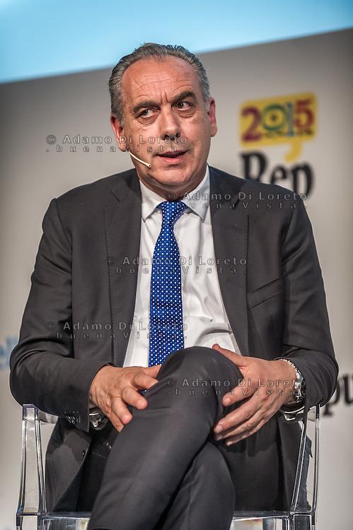 Pescara, Giovanni Legnini during the conference of RepIdee, on October 17, 2015. Photo: Adamo Di Loreto/BuenaVista*photo