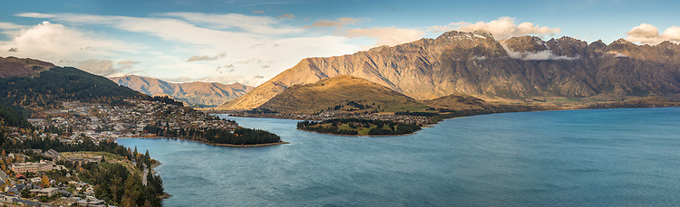 Panoramic image: Queenstown, the Remarkables and Lake Wakatipu New Zealand - stock photo, canvas, fine art print