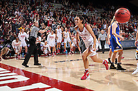 STANFORD, CA - March 21, 2016: Stanford Cardinal defeats the South Dakota State Jackrabbits 66-65 in a second round NCAA tournament game at Maples Pavilion. Kailee Johnson (32) and the Stanford bench celebrate after Lili Thompson makes the tying basket with 8 seconds left in the game.
