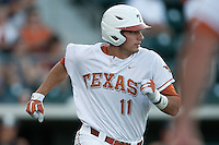 Texas Longhorns  first baseman Alex Silver #11 rounds first base during the NCAA baseball game against the Central Arkansas Bears on April 24, 2012 at the UFCU Disch-Falk Field in Austin, Texas. The Longhorns beat the Bears 4-2. (Andrew Woolley / Four Seam Images).