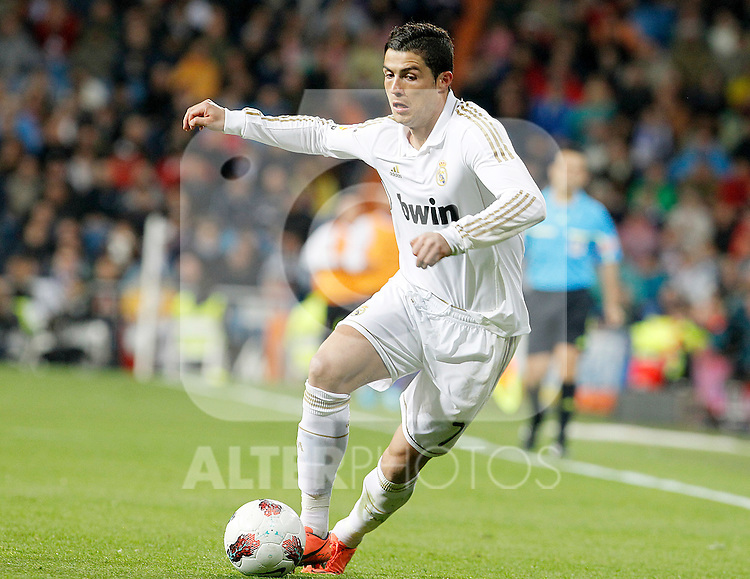 Real Madrid's Cristiano Ronaldo during La Liga match.April 14,2012. (ALTERPHOTOS/Acero)