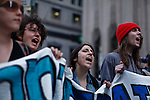 Occupy Wall Street members Shoot slogans during a weekly march called by every friday on Wall Street in New York, United States. 23/03/2012.  Photo by Kena Betancur / VIEWpress.