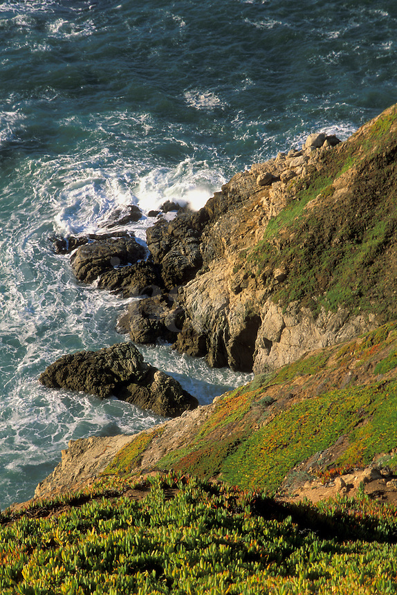 Looking down towards ocean waves crashing against rugged coastal rock cliffs, Point Reyes National Seashore, Marin County, California.