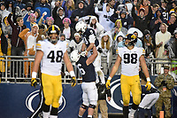 STATE COLLEGE, PA - OCTOBER 27: Penn State G Connor McGovern (66) lifts up Penn State QB Trace McSorley (9) after McSorley scored a long rushing touchdown. The Penn State Nittany Lions defeated the Iowa Hawkeyes 30-24 on October 27, 2018 at Beaver Stadium in State College, PA. (Photo by Randy Litzinger/Icon Sportswire)