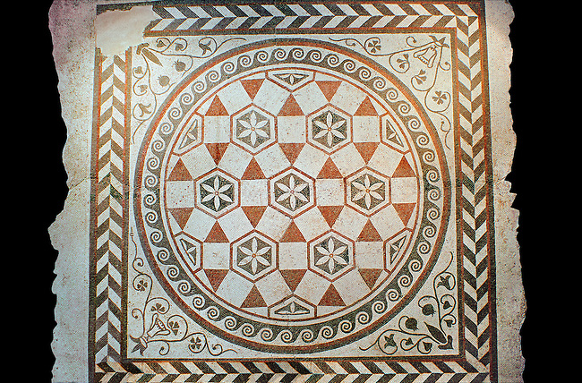 Roman geometric floor mosaic  from the Villa of Castel di Guido, Rome. 1st century AD. National Roman Museum, Rome, Italy