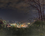 Three shot HDR of Gatlinburg as seen from Bypass overlook at midnight.