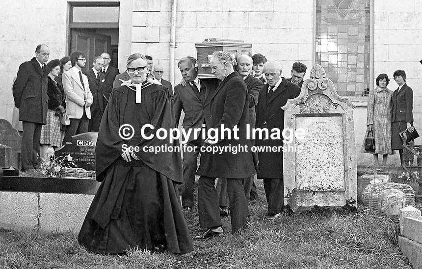 Funeral to Magherahamlet Presbyterian Church of Lord Faulkner, formerly Brian Faulkner, Ulster Unionist politician, who died in a riding accident near his home. Coffin is carried from church to the adjoining graveyard. 177/77, 197703050177a.<br />