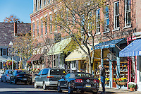 Charming Main Street shops in Woodsctock Village, Vermont, USA