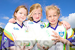 GIRLS: Local girls got stuck in at the VHI GAA Cu?l Camp in Currow last week, l-r: Sarah O'Mahony, Anna Fitzgerald, Joyce O'Connor.