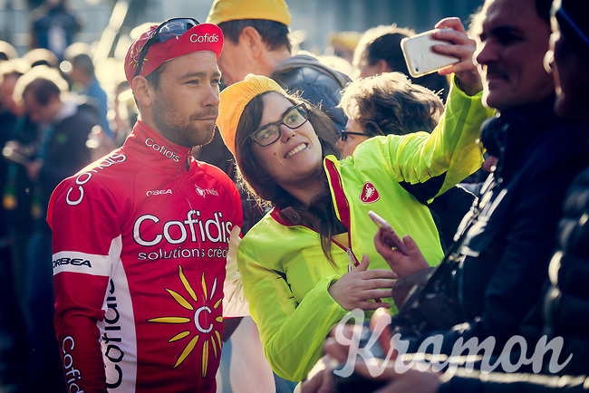 Michael van Staeyen (BEL/Cofidis) selfied at the start podium<br /> <br /> 101th Ronde Van Vlaanderen 2017 (1.UWT)<br /> 1day race: Antwerp › Oudenaarde - BEL (260km)