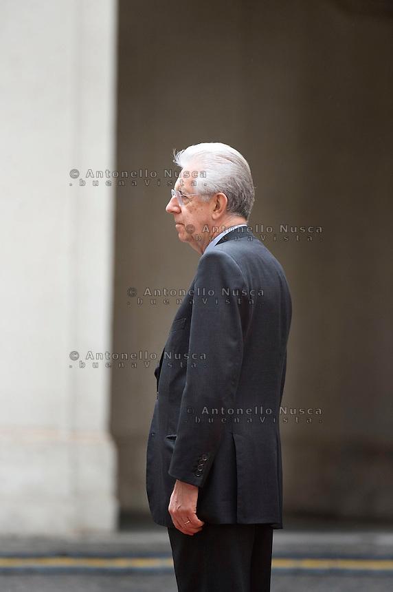 Roma, 7 Maggio, 2012. Mario Monti a Palazzo Chigi.